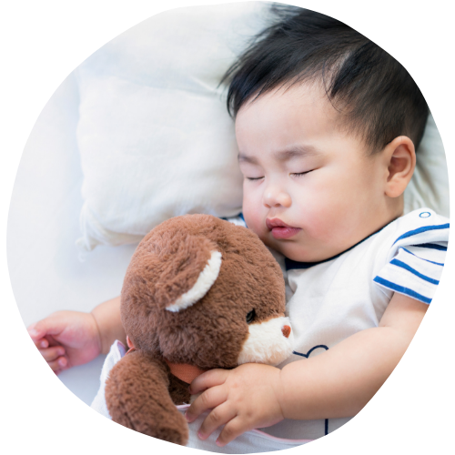 sleeping baby boy with teddy - Sleepyhead Consulting